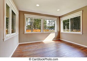 Brand new house construction interior. Empty room.