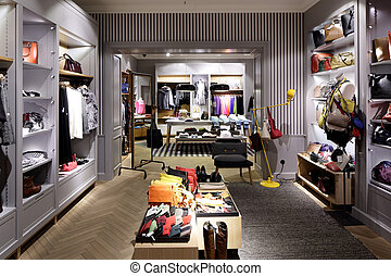 brand new interior of cloth store - luxury and fashionable ...