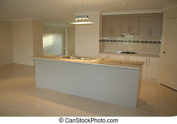 A photo showing a brand new built kitchen in a new house