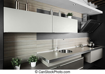interior of brand new modern and stylish kitchen