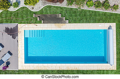 Brand New Outdoor Residential Swimming Pool Aerial View