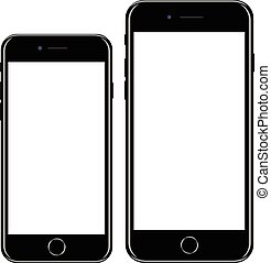 Brand new realistic mobile phone black smartphone in iphon...