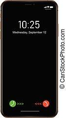 Brand new realistic mobile phone black smartphone