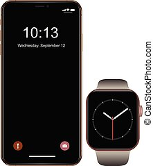 Brand new realistic mobile phone black smartphone with smartwatch