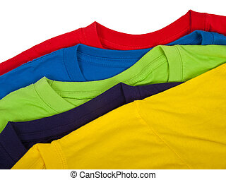 Brand new t-shirts - several colorful t-shirts isolated on...