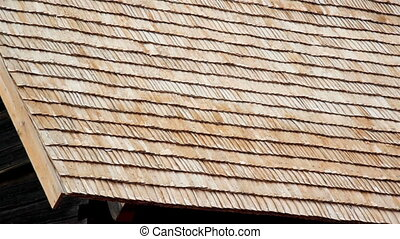 Brand new wooden roof A really close footage of the close-up...