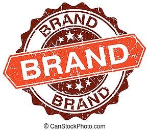 brand orange round grunge stamp on white