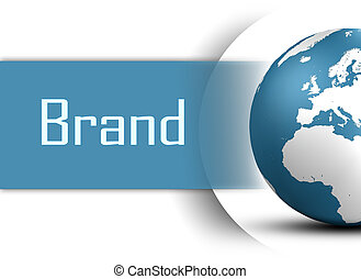Brand concept with globe on white background