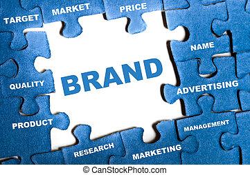 Brand puzzle - Brand blue puzzle pieces assembled