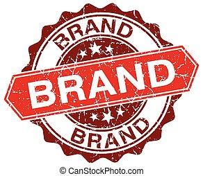 brand red round grunge stamp on white