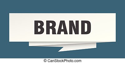 brand sign. brand paper origami speech bubble. brand tag....