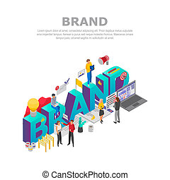 Brand teamwork concept background, isometric style