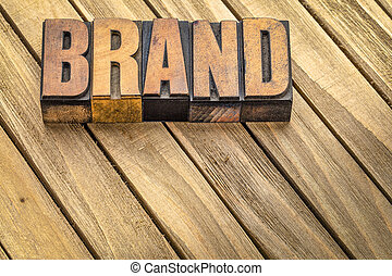 brand word abstract in vintage wood type