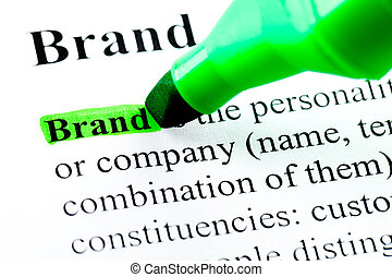Brand word definition highlighted by green marker