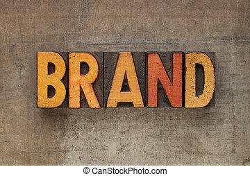 brand word in letterpress type