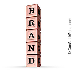 Brand Word Sign. Vertical Stack of Rose Gold Metalic Toy Blocks.