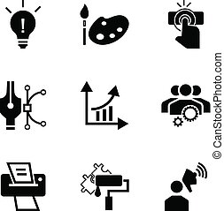 Brand work icon set, simple style