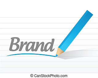 Brand written on a white paper illustration