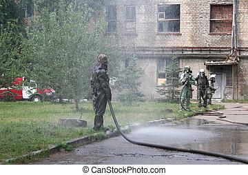 brandbestrijders, chemisch, kostuum, bescherming