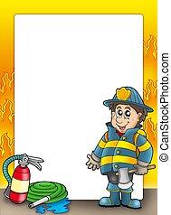 brandbeveiliging, frame, met, brandweerman