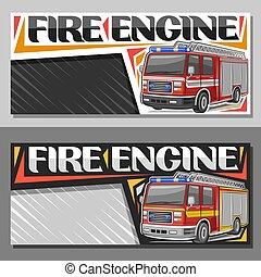 brandbil, baner, vektor