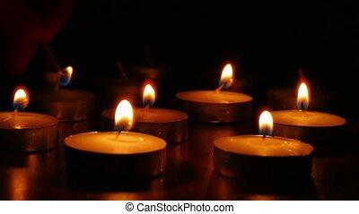 branden, scented, kaarsjes, romantische, alsnog-leven