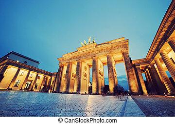brandenburg, alemania, puerta, berlín