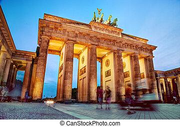 brandenburg, allemagne, portail, berlin