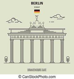brandenburg, berlin, portail, germany., repère, icône
