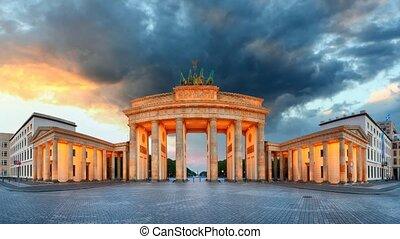 brandenburg, -, berlin, temps, recouvrement, portail