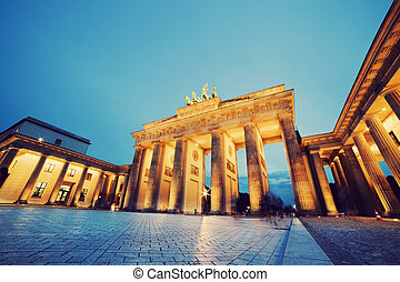 brandenburg, duitsland, poort, berlin