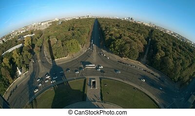 Brandenburg Gate and TV Tower and Victory column shadow, fisheye lens shot