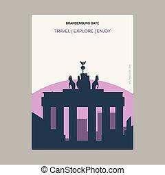 Brandenburg Gate Berlin, Germany Vintage Style Landmark Poster Template