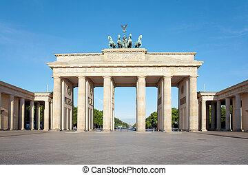 Brandeburg gate, blue sky, Berlin, Germany