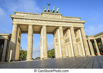 Brandenburg Gate famous landmark in Berlin, Germany.