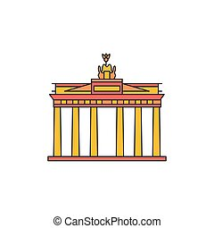 Brandenburg gate icon. Cartoon Brandenburg gate vector icon for web design isolated on white background