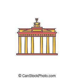 Brandenburg gate icon, cartoon style