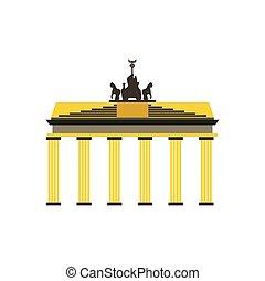 Brandenburg gate icon in flat style