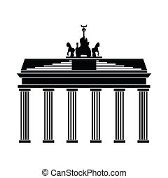 Brandenburg gate icon in simple style isolated on white