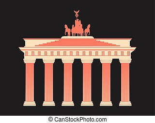 Brandenburg Gate in Berlin. Isolated on white background. Vector illustration