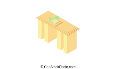 Brandenburg gate in Germany animation of cartoon icon on white background