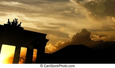 """Brandenburg gate over sunset, 3d animation"""