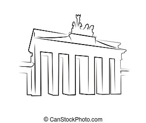 Brandenburg gate silhouette isolated on white
