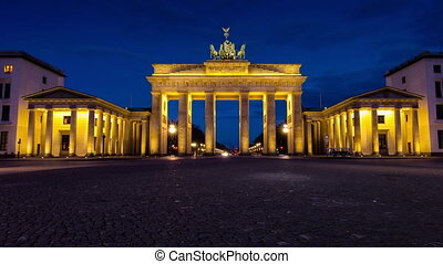 brandenburg gate timelapse at dawn transition night to day