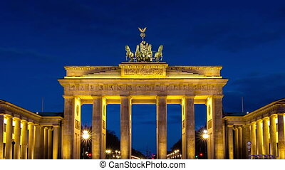 brandenburg gate sunrise timelapse from night to day zoom out