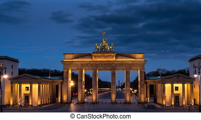 brandenburg gate at the sunrise night to day timelapse