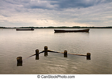 Brandenburg,  (germany), See, Markierung, Fischerei, Boote