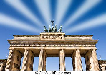 brandenburger tor berlin with light