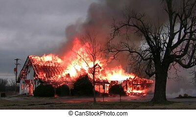brandend, gebouw, /, breng vuur onder
