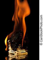 brandend huis, van, stellen
